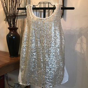 Gold Glitter Flowing Top Size Large